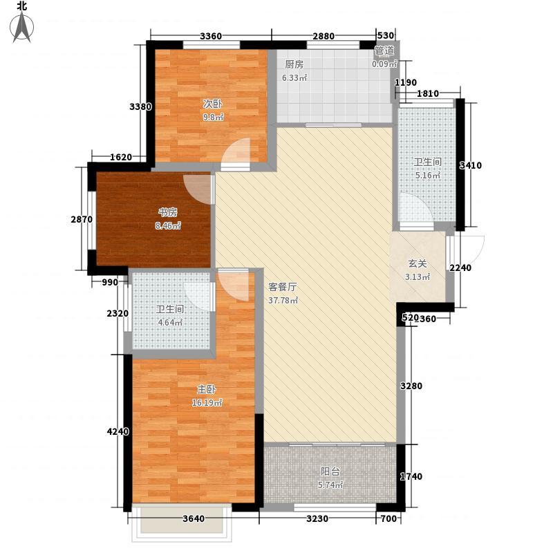 山河城伴山星河133.00㎡6#K户型3室2厅2卫1厨
