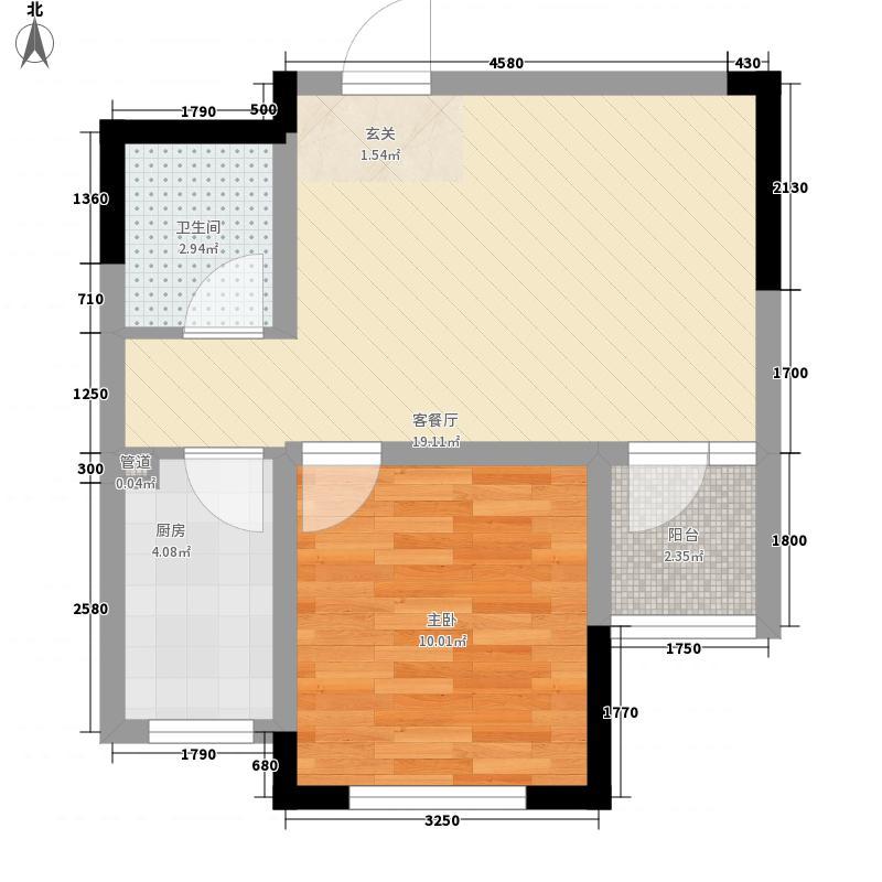 山河城伴山星河56.00㎡1#2#D1户型1室2厅1卫1厨