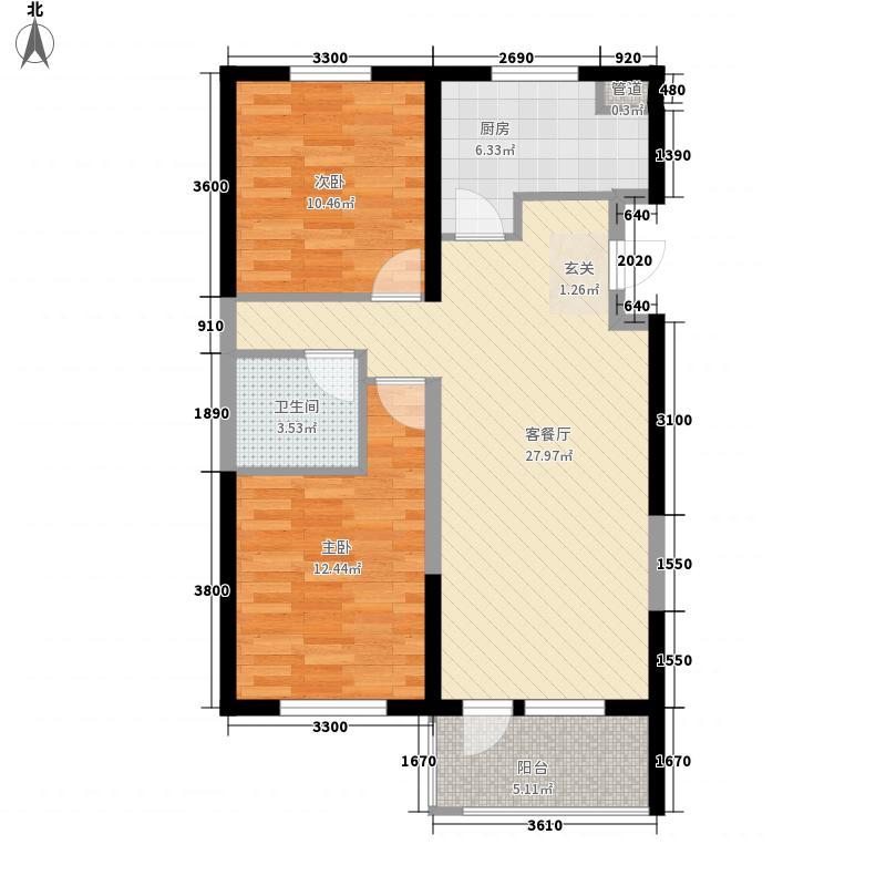 万科海港城A6户型2室2厅1卫