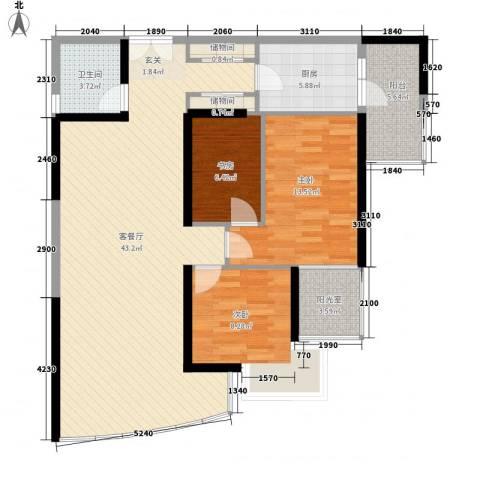 中山花园3室1厅1卫1厨129.00㎡户型图