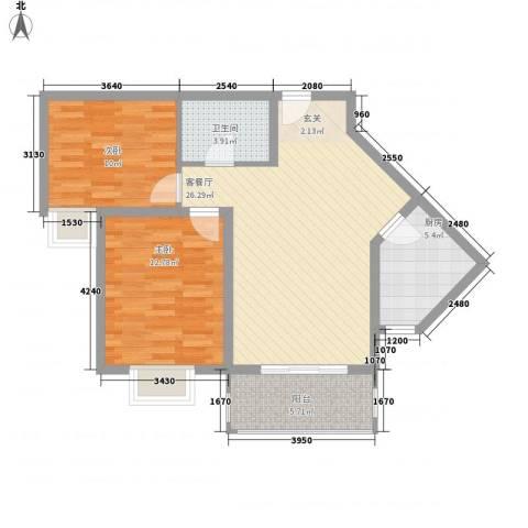 阿房大厦2室1厅1卫1厨83.00㎡户型图