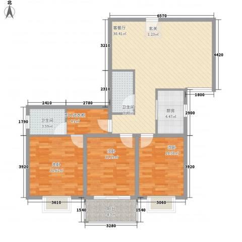 阿房大厦3室1厅2卫1厨113.00㎡户型图