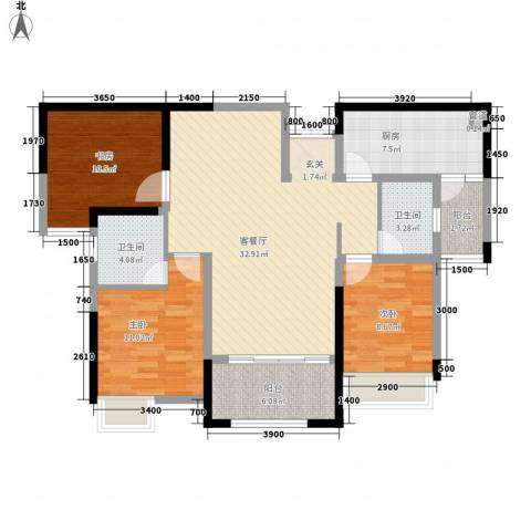 秦岭北麓3室1厅2卫1厨126.00㎡户型图