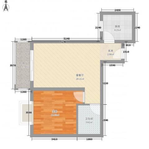 阿房大厦1室1厅1卫1厨56.00㎡户型图