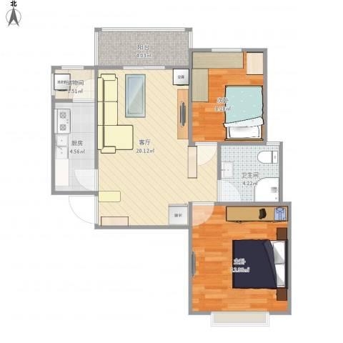 金色花语城2室1厅1卫1厨84.00㎡户型图