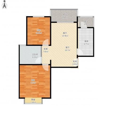 金色花语城2室1厅1卫1厨92.00㎡户型图