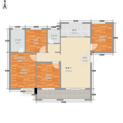 秦岭北麓4室1厅2卫1厨147.00㎡户型图