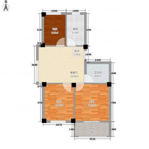 黄府家园3室1厅1卫1厨82.00㎡户型图