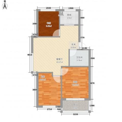 黄府家园3室1厅1卫1厨78.00㎡户型图