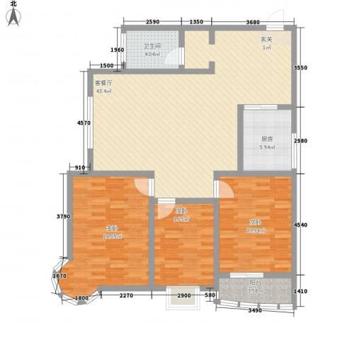 龙悦湾三期3室1厅1卫1厨140.00㎡户型图