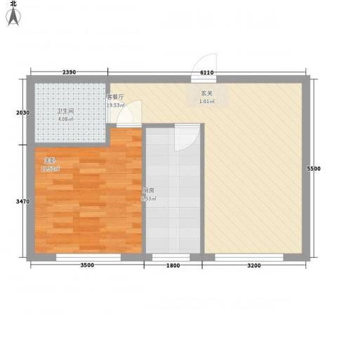 坤程花苑1室1厅1卫1厨58.00㎡户型图