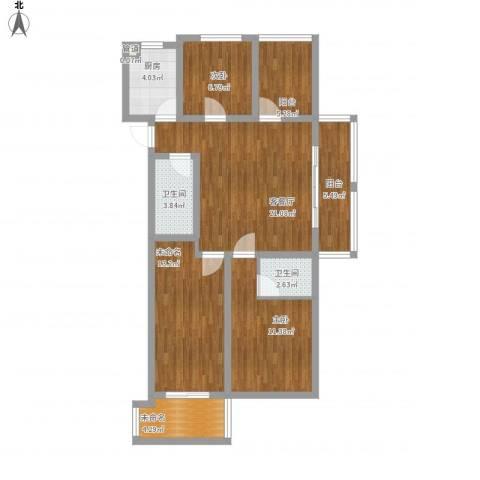 易居公馆2室1厅2卫1厨115.00㎡户型图