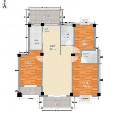 江都金域・地中海3室1厅2卫1厨96.71㎡户型图