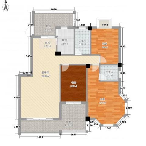 江都金域・地中海3室1厅2卫1厨129.00㎡户型图