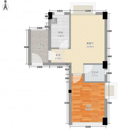 骏隆轩・幸福里8号1室1厅1卫1厨56.00㎡户型图