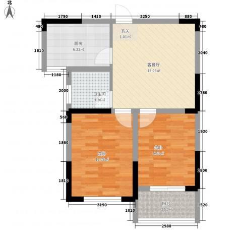 大成优盘2室1厅1卫1厨58.28㎡户型图