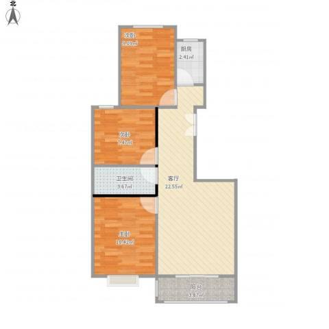 向阳雅园3室1厅1卫1厨81.00㎡户型图