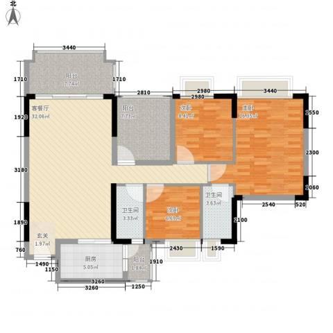 朗晴名门3室1厅2卫1厨132.00㎡户型图