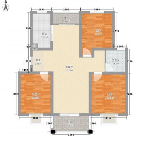 紫运花园3室1厅1卫1厨91.16㎡户型图