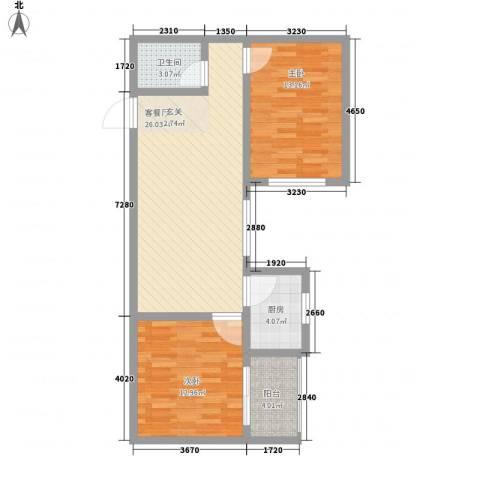 龙悦湾三期2室1厅1卫1厨91.00㎡户型图