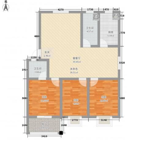 紫运花园3室0厅2卫1厨99.00㎡户型图