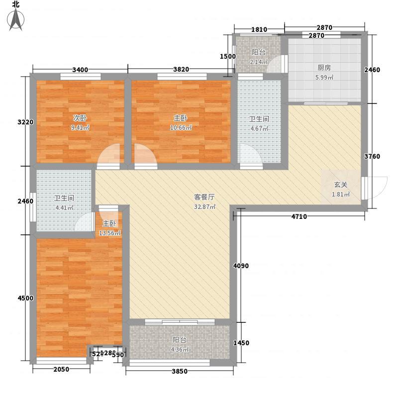 中富锦园127.61㎡一期1号楼3号楼C1户型3室2厅2卫1厨