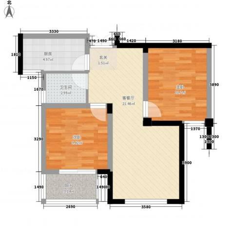 丰臣国际广场2室1厅1卫1厨78.00㎡户型图