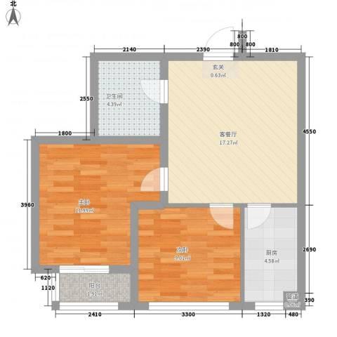 凤翔新城二期2室1厅1卫1厨56.80㎡户型图