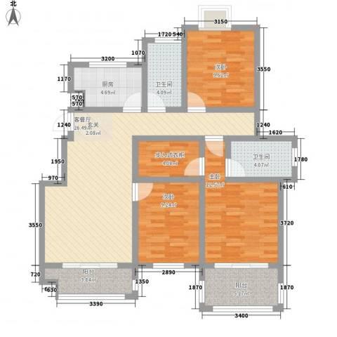 天景名城3室1厅2卫1厨124.00㎡户型图