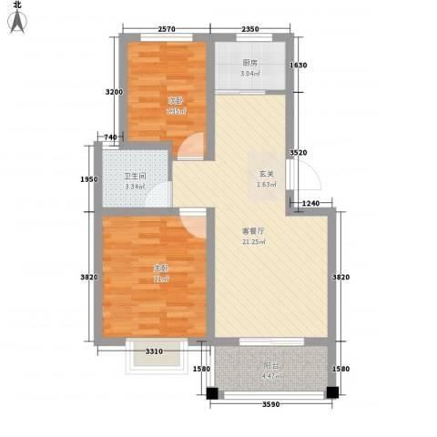 紫运花园2室1厅1卫1厨58.80㎡户型图