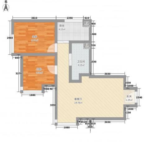 苏豪爱居2室1厅1卫1厨75.00㎡户型图