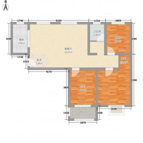天景名城3室1厅1卫1厨72.59㎡户型图