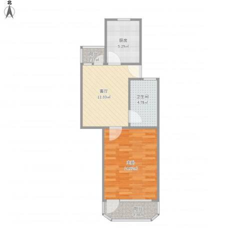 牡丹公寓1室1厅1卫1厨55.00㎡户型图