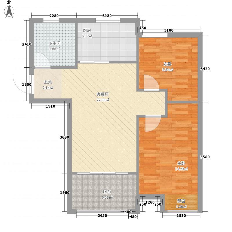 伟东幸福之城莱茵708087.00㎡B2户型2室2厅1卫1厨