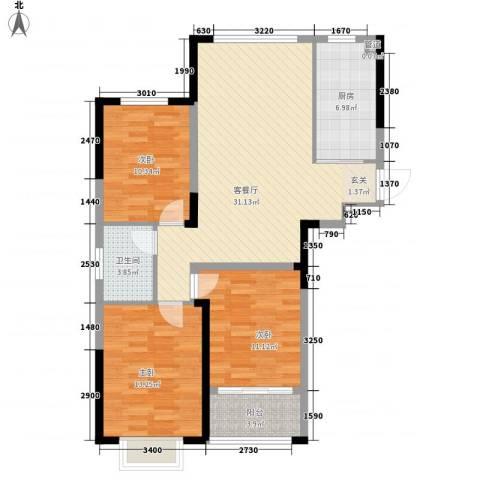 沁园3室1厅1卫1厨115.00㎡户型图