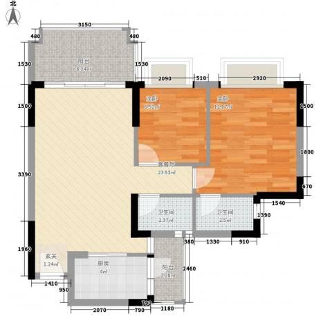 朗晴名门2室1厅2卫1厨86.00㎡户型图
