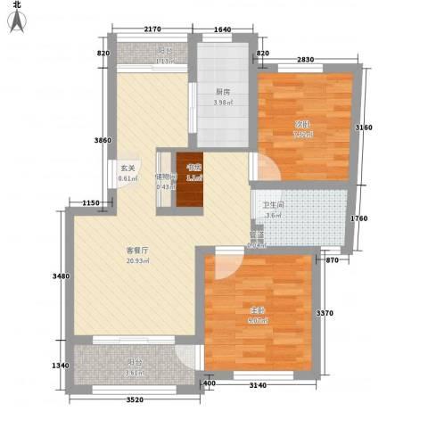 晟达家园2室1厅1卫1厨76.00㎡户型图