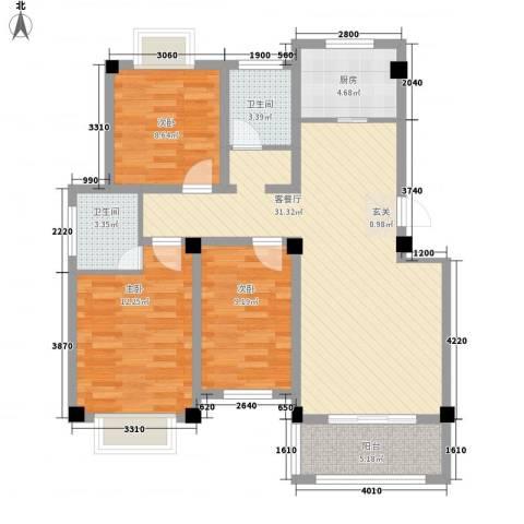 天景名城3室1厅2卫1厨113.00㎡户型图