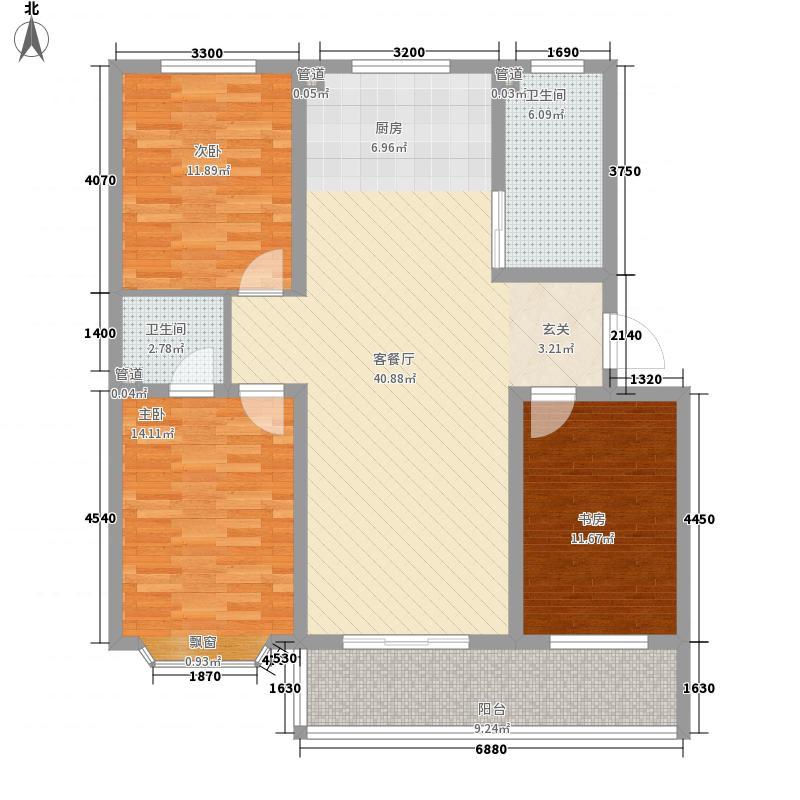 树林新村137.28㎡B户型3室2厅2卫1厨