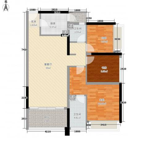 上东国际二期3室1厅2卫1厨125.00㎡户型图