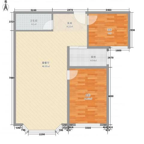 水韵名城2室1厅1卫1厨107.00㎡户型图