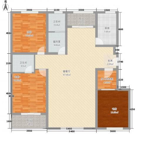 学府康城3室1厅2卫1厨170.00㎡户型图