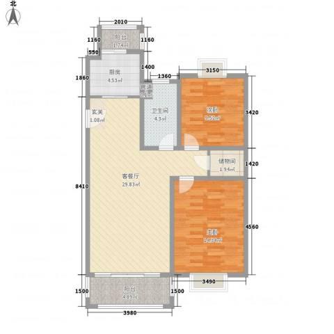 吉利名苑2室1厅1卫1厨101.00㎡户型图