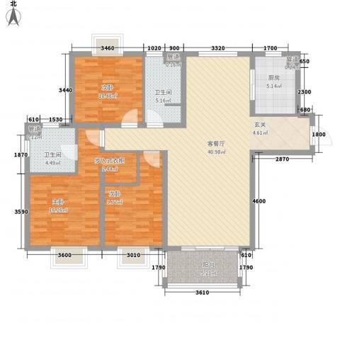 南空花园3室1厅2卫1厨140.00㎡户型图