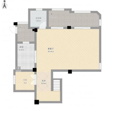 保利湖畔林语1厅1卫1厨108.00㎡户型图