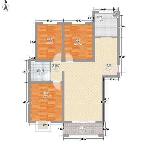 天景名城3室1厅1卫1厨115.00㎡户型图
