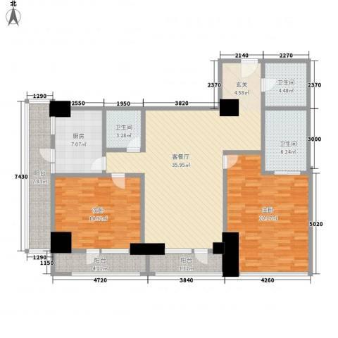 苏州街33号公寓2室1厅3卫1厨173.00㎡户型图