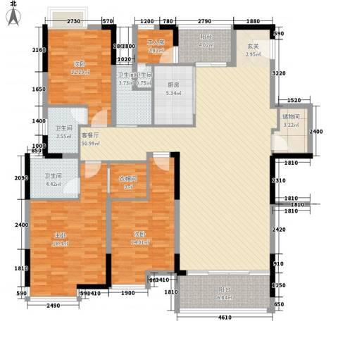 湖景壹号庄园别墅3室1厅4卫1厨150.90㎡户型图