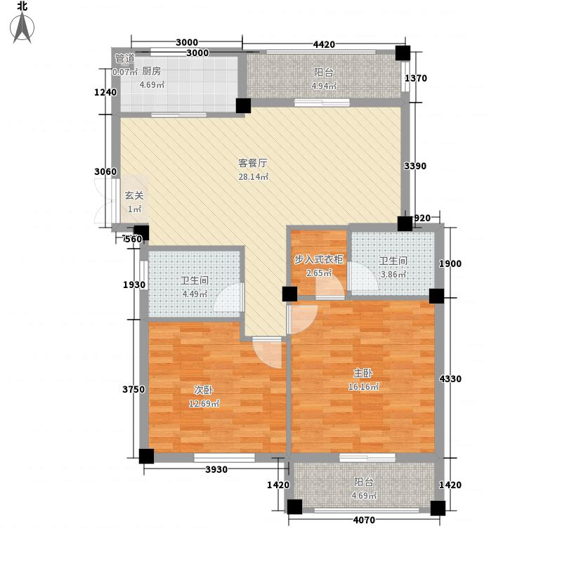 春晓源燕园116.38㎡高层9#-04户型2室2厅2卫1厨