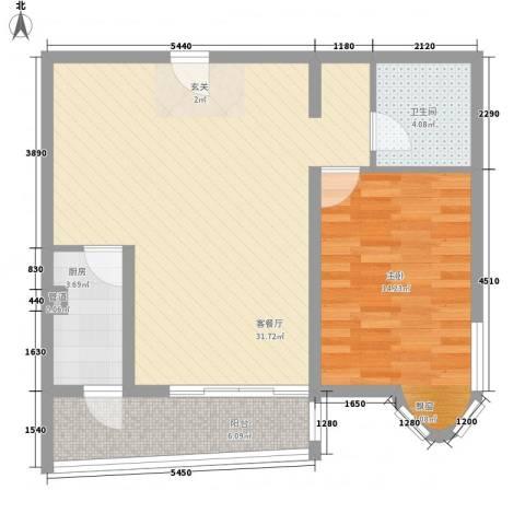 渤海明珠1室1厅1卫1厨84.00㎡户型图